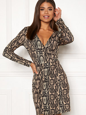 Ivyrevel Shiny Wrap Dress Beige Snake