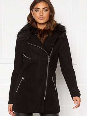 Only Carol Wool Fur Biker Coat