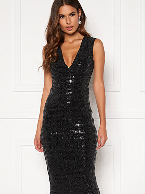 Ax Paris Glitter Plunge Midi Dress