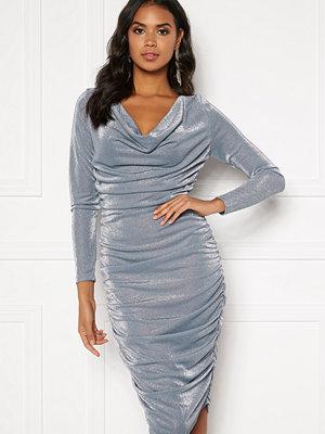 Bubbleroom Eleni sparkling waterfall dress Silver