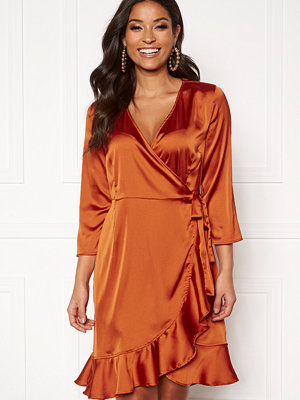 Vero Moda Henna Satin Wrap Dress