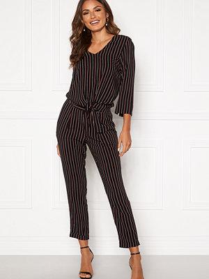Happy Holly svarta randiga byxor Thea pants Black / Striped
