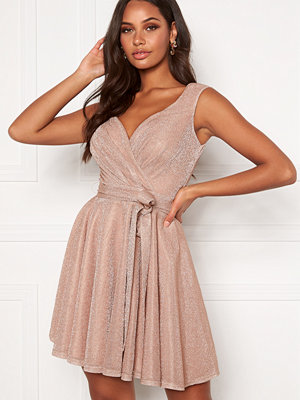 Goddiva Lurex Skater Dress Nude