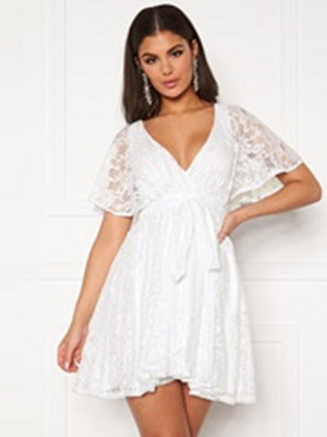 Goddiva Flutter Lace Skater Dress