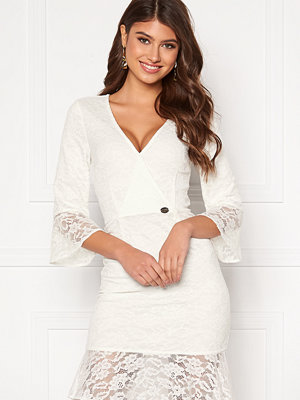 Chiara Forthi Pearl flounce wrap dress White