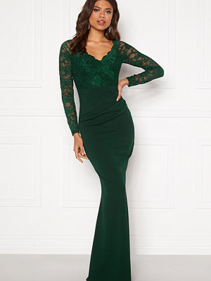 Goddiva Lace Trim Maxi Dress