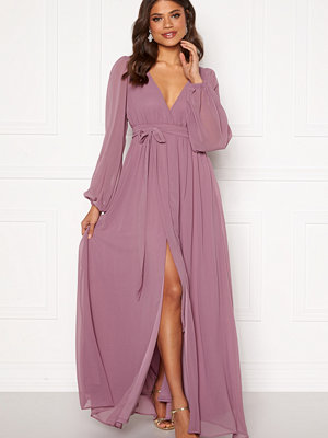 Goddiva Long Sleeve Chiffon Dress