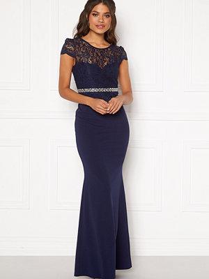 Goddiva Lace Bodice Maxi Dress Navy