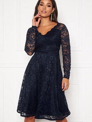 Goddiva Long Sleeve Lace Dress Navy