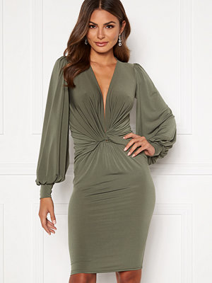 John Zack Deep V Twist Midi Dress