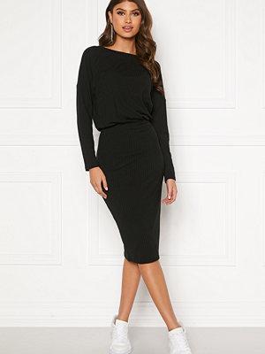 Bubbleroom Indira rib dress Black