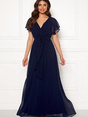 Goddiva Flutter Chiffon Dress Navy
