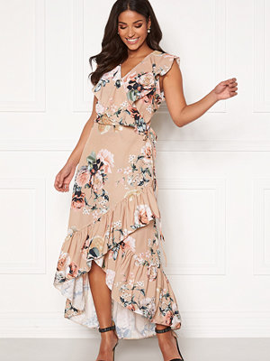 John Zack Ruffle Wrap Midaxi Dress