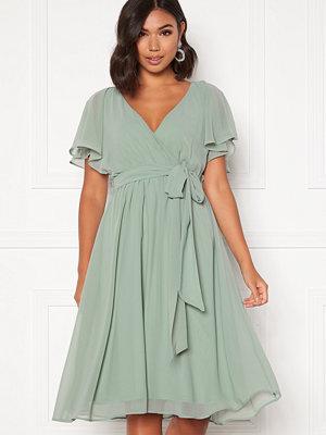 Goddiva Flutter Chiffon Dress Sage Green