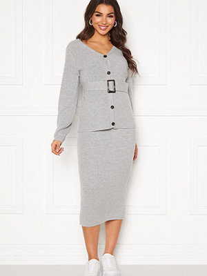 Pieces Milla HW Midi Knit Skirt Light Grey Melange