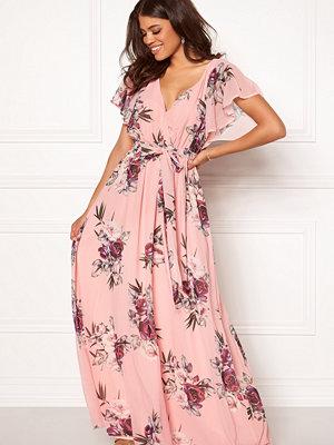 Goddiva Flutter Floral Maxi Dress Peach