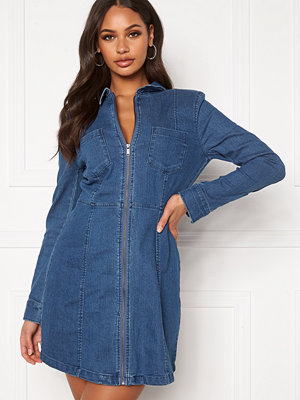 Noisy May Lisa Denim Zip Dress Medium Blue Denim