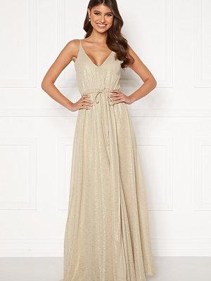 Bubbleroom Nionne sparkling chiffon prom dress Gold-coloured / Champagne