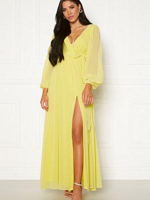 Goddiva Long Sleeve Chiffon Dress Lemon