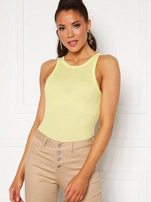Vero Moda Roma S/L Rib Halterneck Top Sunny Lime