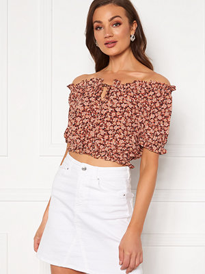 Pieces Maggie SS Cropped Top Copper Brown