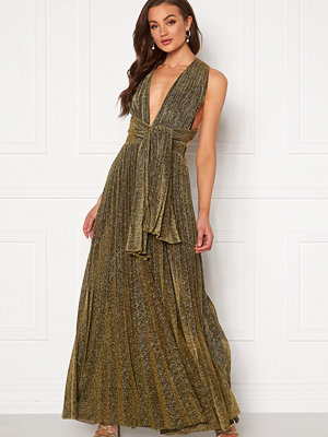 Goddiva Deep V Neck Glitter Dress