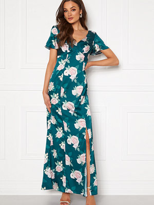 Chi Chi London Meadow Floral Maxi Dress Teal