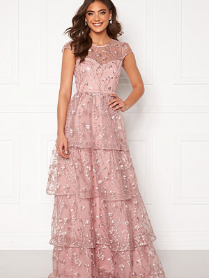 Alexandra Nilsson X Bubbleroom Flounced gown Dark heather pink