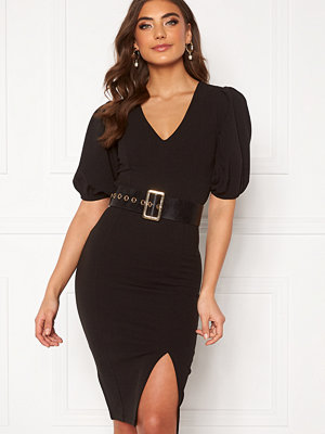 Alexandra Nilsson X Bubbleroom Deep neck puff sleeve dress Black