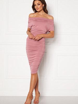 Bubbleroom Eleni waterfall short sleeve dress Pink