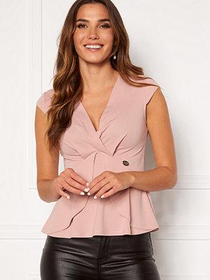 Chiara Forthi Tiziana cap sleeve wrap top Dusty pink