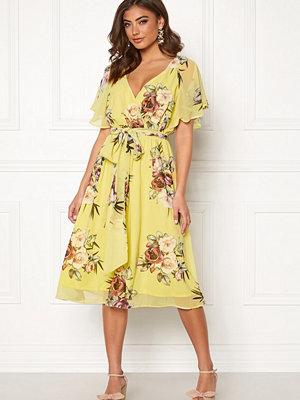 Goddiva Flutter Floral Midi Dress Soft Lemon