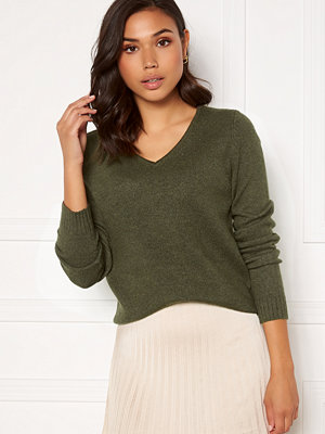 Vila Ril L/S V-neck Knit Top Forest Night Melange