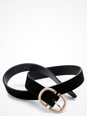 Pieces Juva Suede Jeans Belt Black W. Brushed Gol
