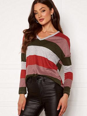Jacqueline de Yong Tonsy L/S V-Neck Top Grey Stripe Baked Ap