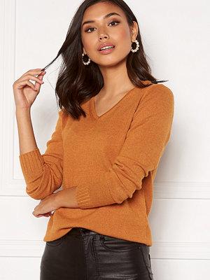 Vila Ril L/S V-neck Knit Top Pumpkin SpiceMelange