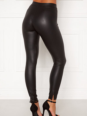 Leggings & tights - Pieces Shiny MW Slit Leggings