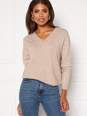 Vila Ril Knit V-Neck Top Simply Taupe