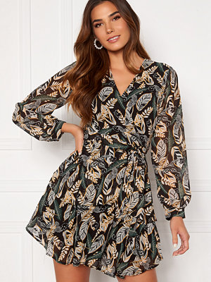 Girl In Mind Camila Long Sleecve Chiffon Mini Dress Black Leaf
