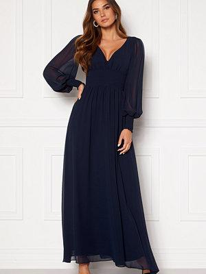 Goddiva Long Sleeve Shirred Maxi Dress Navy