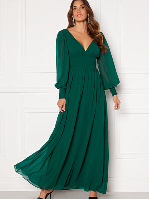 Goddiva Long Sleeve Shirred Maxi Dress