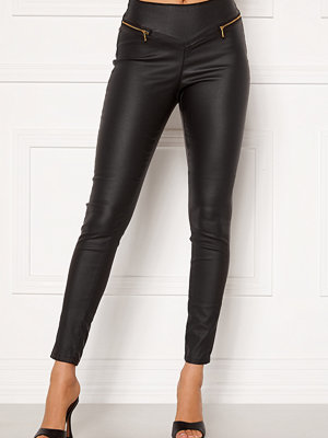 Vero Moda svarta byxor Geller HR Slim Coated Zip Pants