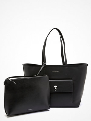 Karl Lagerfeld svart shopper Ikonik Metal Pin Tote A999 Black
