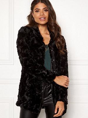 Vero Moda Curl High Neck Faux Fur Black