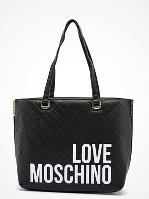 Love Moschino svart shopper med tryck Shopping Lovers 00A Black