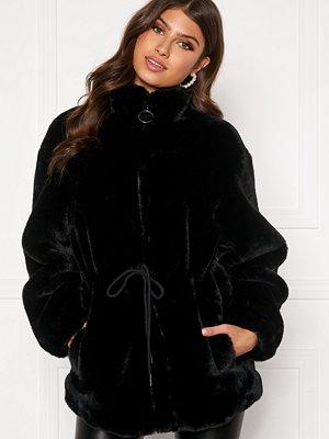 Fuskpälsjackor - Bubbleroom Trixie faux fur jacket Black