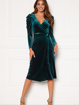 Chiara Forthi Laury puff sleeve wrap dress Green