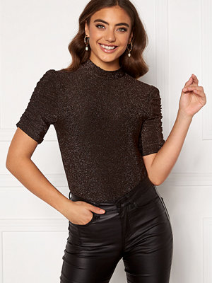 Pieces Rina Puff Sleeve Top Root Beer