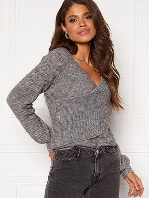 Object Holly LS Knit Pullover Medium Grey Melange