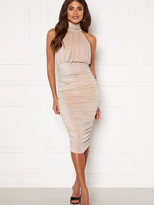 Ax Paris Sparkle High Neck Rouch Midi Dress
